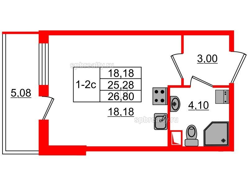 Планировка Студия площадью 25.28 кв.м в ЖК «GREENЛАНДИЯ 2»
