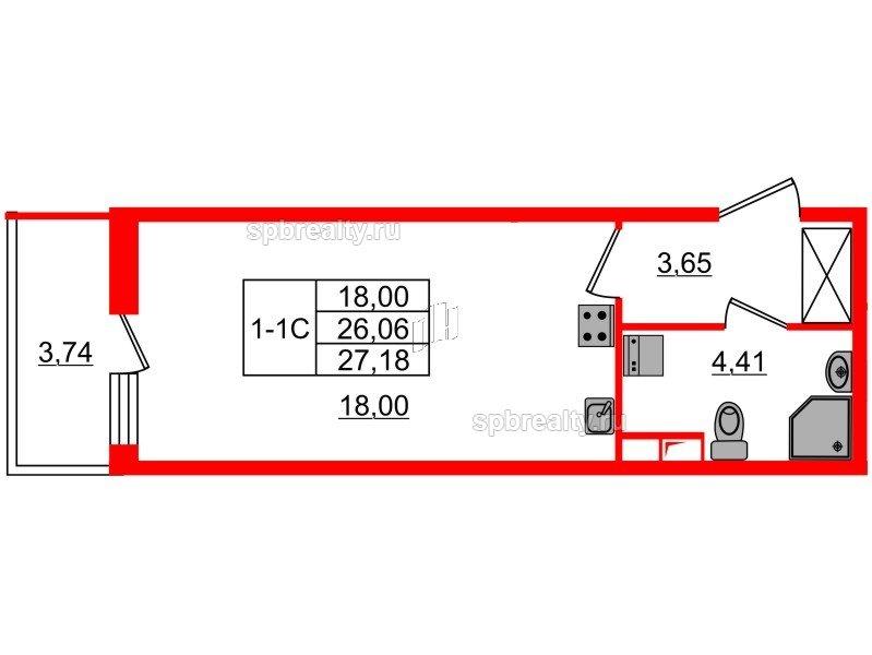 Планировка Студия площадью 26.06 кв.м в ЖК «GREENЛАНДИЯ 2»
