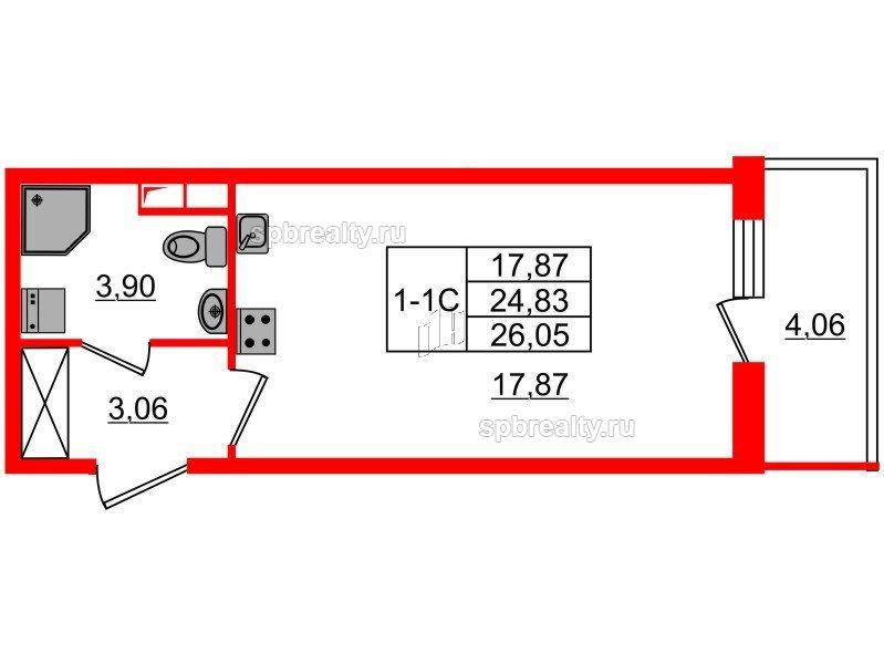 Планировка Студия площадью 24.83 кв.м в ЖК «GREENЛАНДИЯ 2»