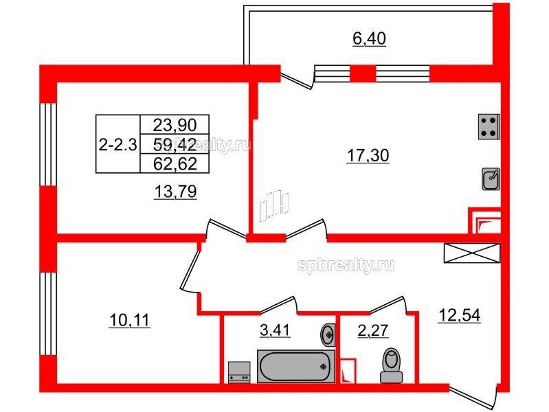 Планировка Двухкомнатная квартира площадью 59.42 кв.м в ЖК «GREENЛАНДИЯ 2»