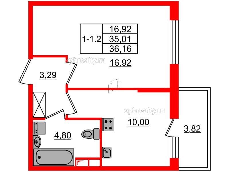 Планировка Однокомнатная квартира площадью 35.01 кв.м в ЖК «GREENЛАНДИЯ 2»