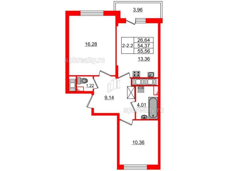 Планировка Двухкомнатная квартира площадью 54.37 кв.м в ЖК «GREENЛАНДИЯ 2»
