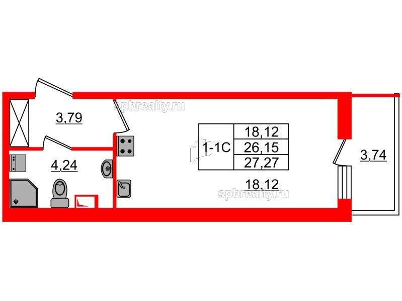 Планировка Студия площадью 26.15 кв.м в ЖК «GREENЛАНДИЯ 2»
