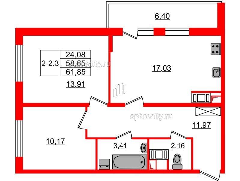 Планировка Двухкомнатная квартира площадью 58.65 кв.м в ЖК «GREENЛАНДИЯ 2»