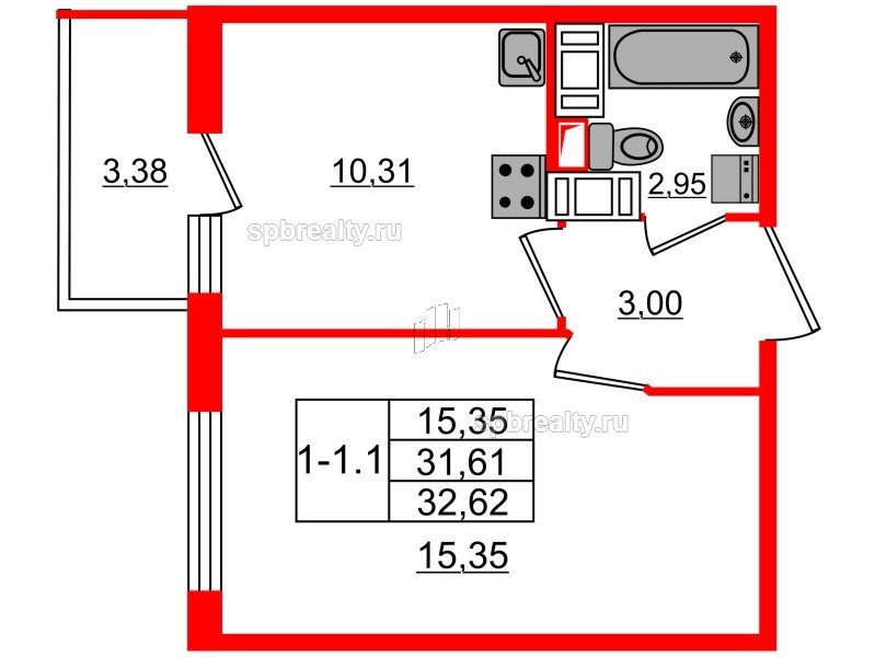 Планировка Однокомнатная квартира площадью 31.61 кв.м в ЖК «GREENЛАНДИЯ 2»