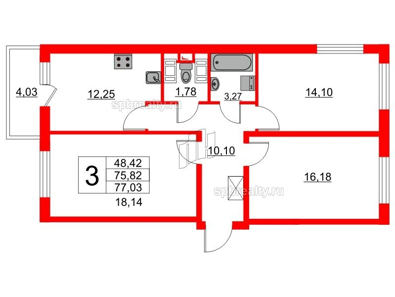 Планировка Трёхкомнатная квартира площадью 74 кв.м в ЖК «GREENЛАНДИЯ 2»