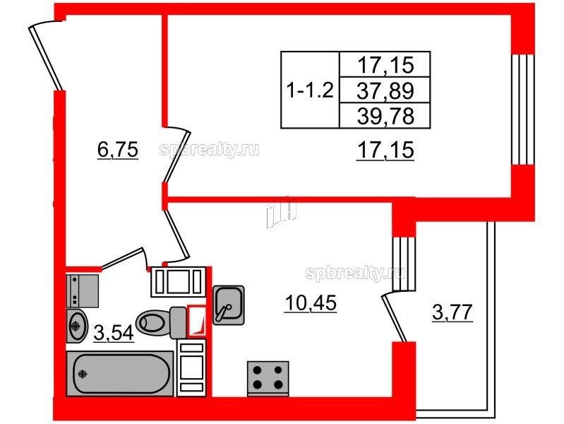 Планировка Однокомнатная квартира площадью 37.89 кв.м в ЖК «GREENЛАНДИЯ 2»