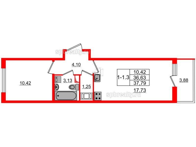 Планировка Однокомнатная квартира площадью 36.63 кв.м в ЖК «GREENЛАНДИЯ 2»
