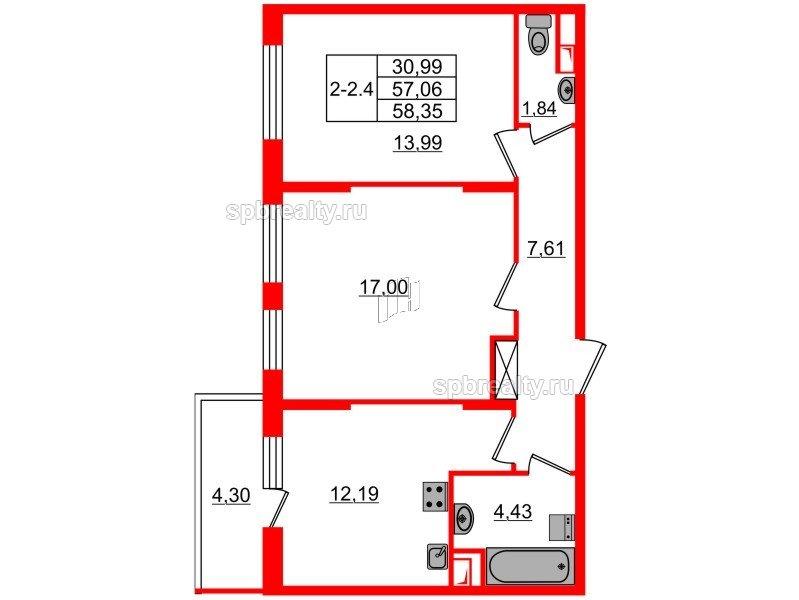 Планировка Двухкомнатная квартира площадью 57.06 кв.м в ЖК «GREENЛАНДИЯ 2»
