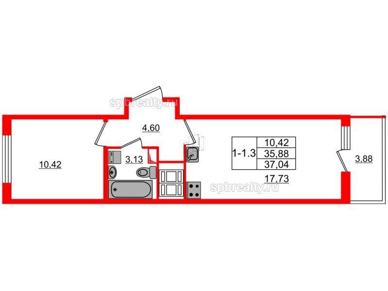 Планировка Однокомнатная квартира площадью 35.88 кв.м в ЖК «GREENЛАНДИЯ 2»