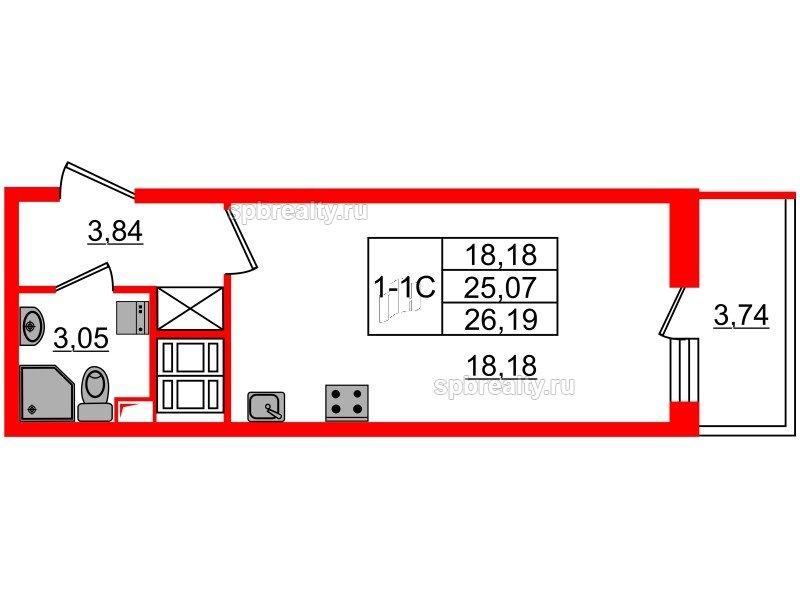 Планировка Студия площадью 25.07 кв.м в ЖК «GREENЛАНДИЯ 2»