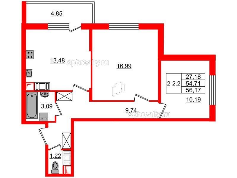 Планировка Двухкомнатная квартира площадью 54.71 кв.м в ЖК «GREENЛАНДИЯ 2»