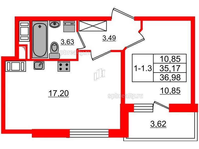 Планировка Однокомнатная квартира площадью 35.17 кв.м в ЖК «GREENЛАНДИЯ 2»