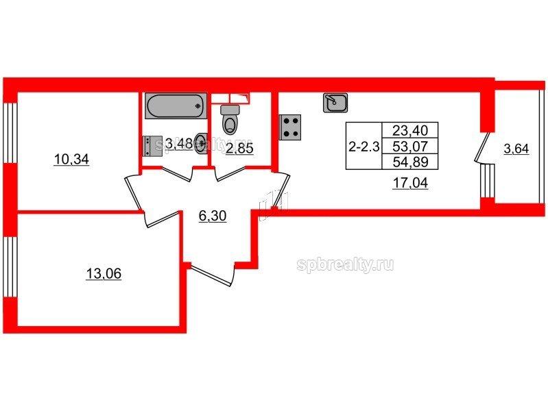 Планировка Двухкомнатная квартира площадью 53.07 кв.м в ЖК «GREENЛАНДИЯ 2»