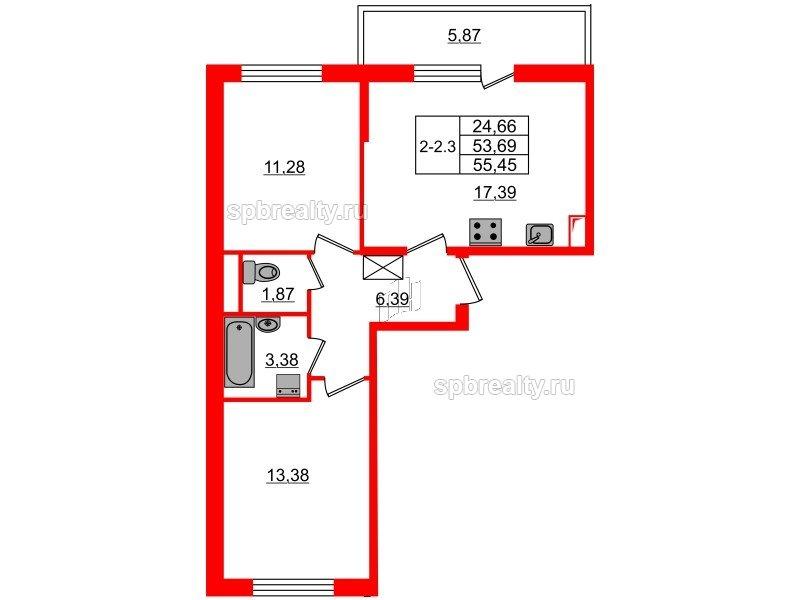 Планировка Двухкомнатная квартира площадью 53.69 кв.м в ЖК «GREENЛАНДИЯ 2»