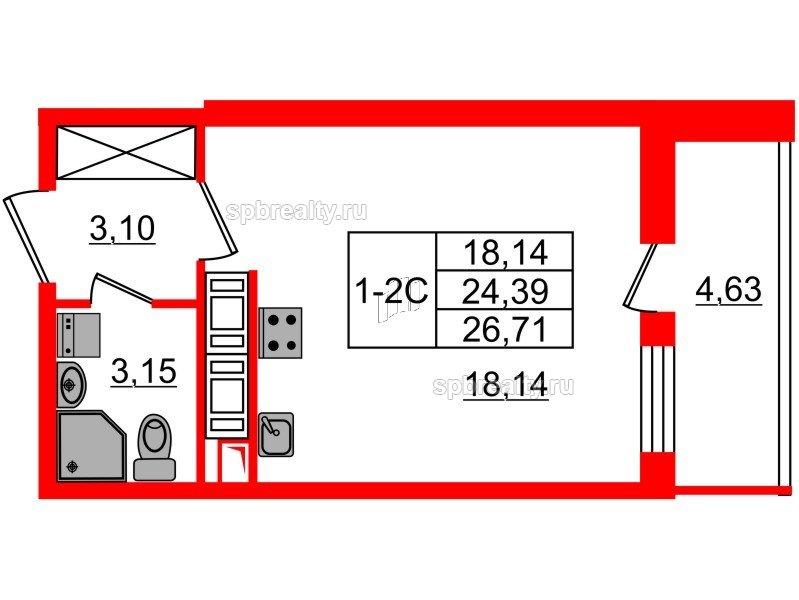 Планировка Студия площадью 24.39 кв.м в ЖК «GREENЛАНДИЯ 2»