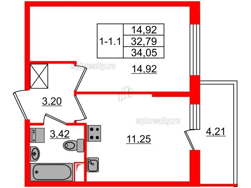 Планировка Однокомнатная квартира площадью 32.79 кв.м в ЖК «GREENЛАНДИЯ 2»