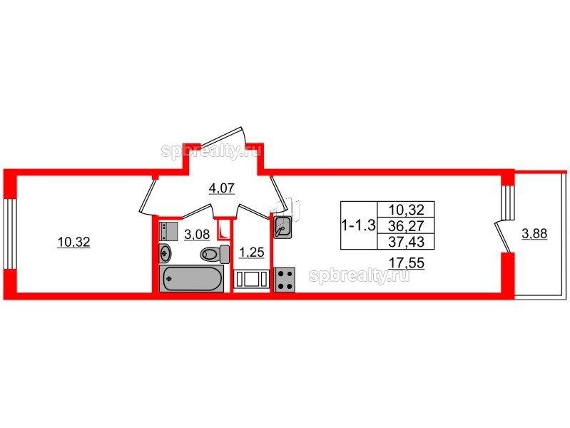 Планировка Однокомнатная квартира площадью 36.27 кв.м в ЖК «GREENЛАНДИЯ 2»