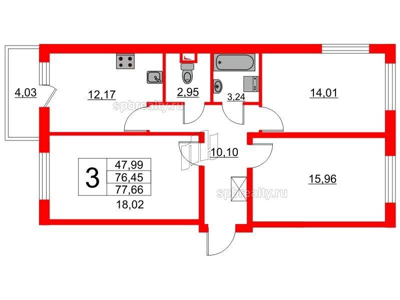 Планировка Трёхкомнатная квартира площадью 75 кв.м в ЖК «GREENЛАНДИЯ 2»