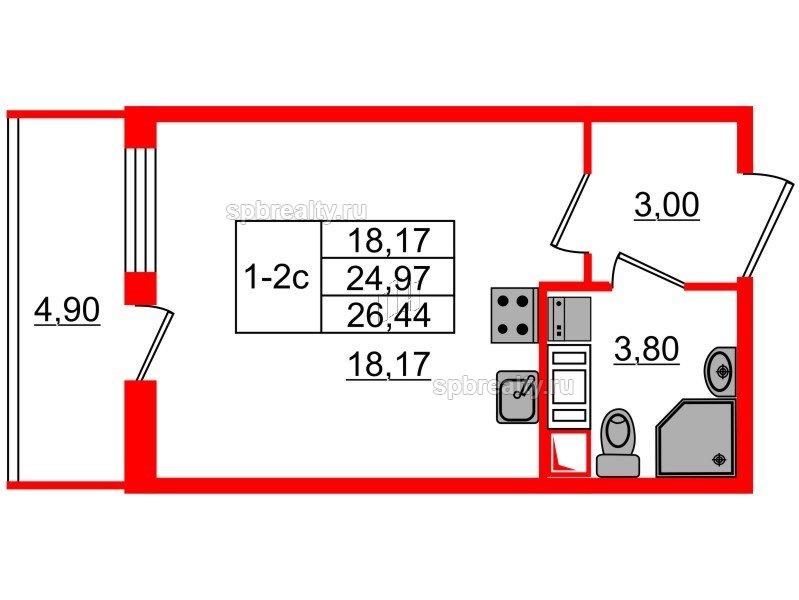 Планировка Студия площадью 24.97 кв.м в ЖК «GREENЛАНДИЯ 2»