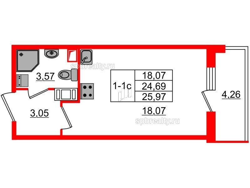Планировка Студия площадью 24.69 кв.м в ЖК «GREENЛАНДИЯ 2»