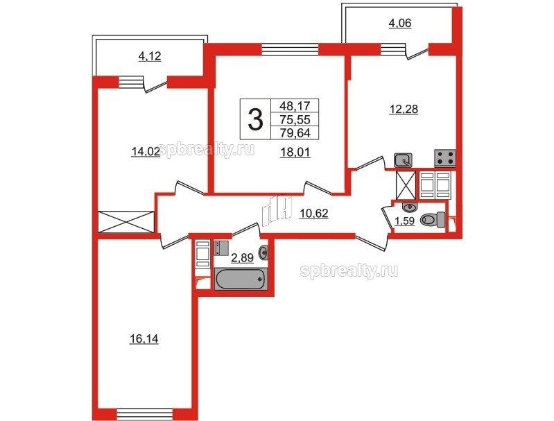 Планировка Трёхкомнатная квартира площадью 75.55 кв.м в ЖК «GREENЛАНДИЯ 2»