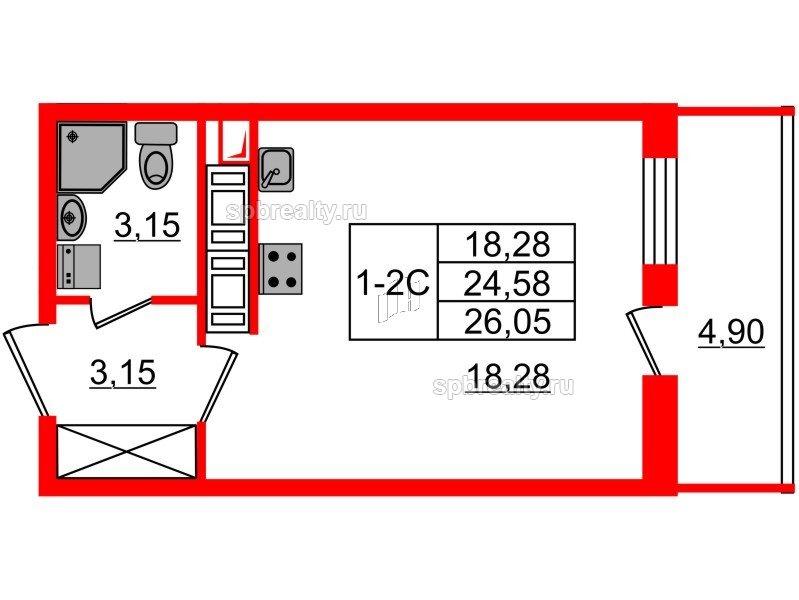 Планировка Студия площадью 24.58 кв.м в ЖК «GREENЛАНДИЯ 2»
