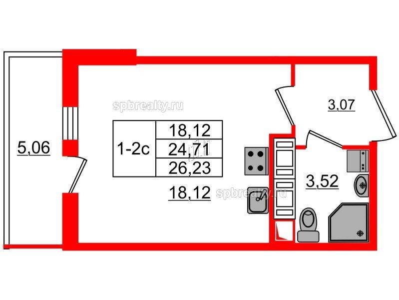 Планировка Студия площадью 24.71 кв.м в ЖК «GREENЛАНДИЯ 2»