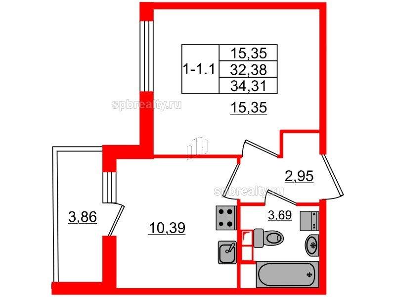 Планировка Однокомнатная квартира площадью 32.38 кв.м в ЖК «GREENЛАНДИЯ 2»